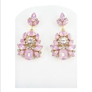 Iridescent pink/lilac crystal statement earrings